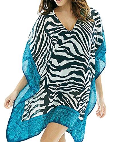 Rolanscia Damen Chiffon Strandkleid Strandponcho Sommer Kaftan Bikini Cover Up Zebra