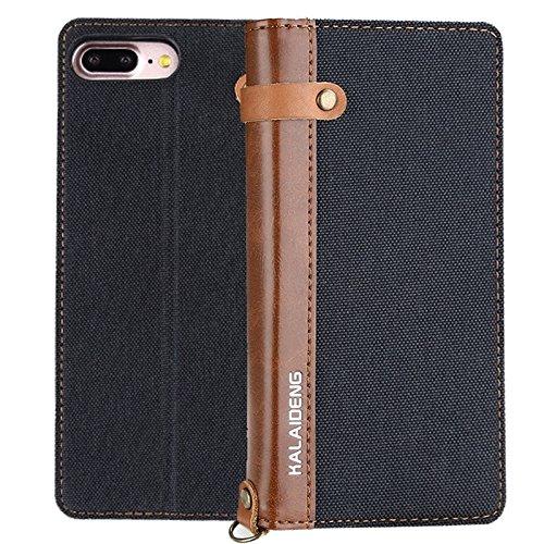 GR iPhone 7 Plus Leinen Leder + TPU Horizontale Flip Leder Tasche mit Card Slots & Halter & Lanyard ( Color : Black ) Black