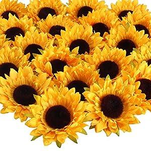 HUAESIN 24Pcs Cabeza Girasoles Artificiales Amarillas 9cm Girasoles Decoracion Flores de Seda Plastico Girasol…