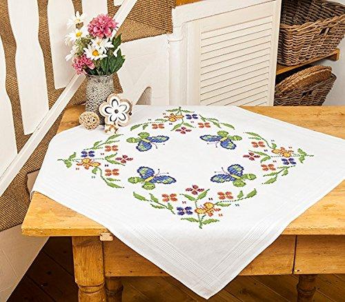 Kamaca - set per ricamo a punto croce, motivo: farfalle, 80 x 80 cm, 100% cotone, orlo già cucito, alta qualità