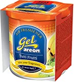 Gel air freshener with fresh energizing fragrances helps to get rid of musty mildew and other undesirable ordor.