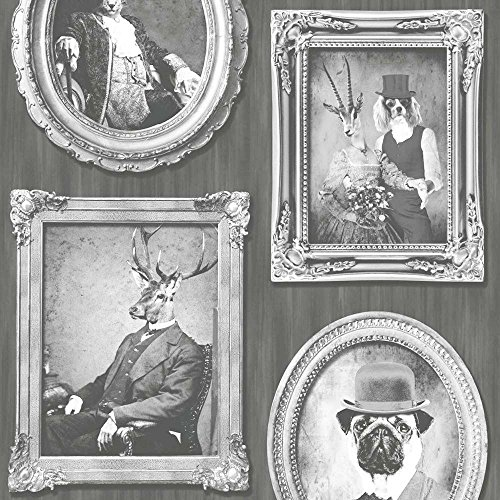 dogs-wallpaper-vintage-antique-frames-photos-vinyl-paste-the-wall-charcoal-white
