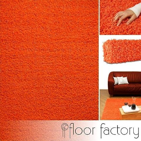 Tapis shaggy longues mèches Candy orange 80x150 cm - tapis de salon au prix discount