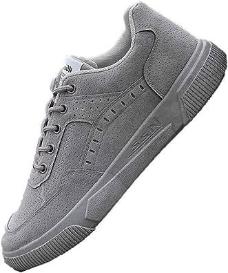 Sneakers Uomo Impermeabili Punta Tonda Tinta Unita Stringate Scarpe da Ginnastica Piatte Leggere da Passeggio Sport Scarpe da Skateboard Casual