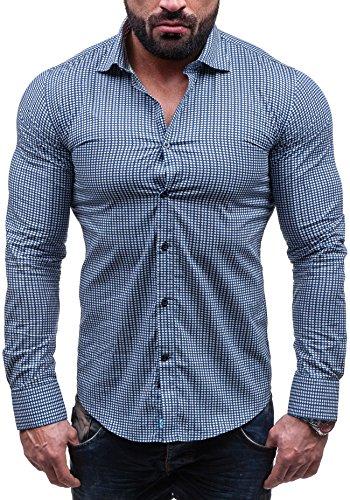 BOLF Langarm Herrenhemd Hemd Figurbetont Freizeit Slim Fit GLO-STORY 1506 Dunkelblau