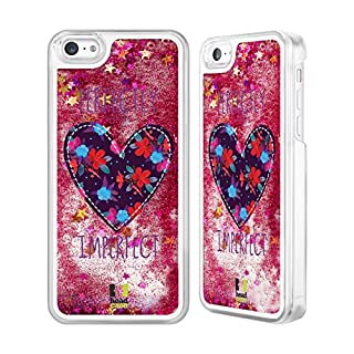 Head Case Designs Floral Heart Patches Hot Pink Liquid Glitter Case Cover for Apple iPhone 5c