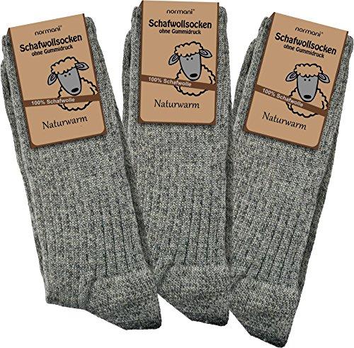 Wolle Damen-socken (3 Paar Schafwollsocken - Socken aus 100% Schafwolle - naturwarm Größe 39/42)