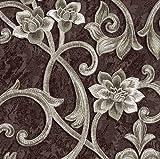 Tapeten Muster EDEM 9016-Serie | Barock Tapete mit floralen Ornamenten und metallischen Akzenten, S-9016-XX:S-9016-36