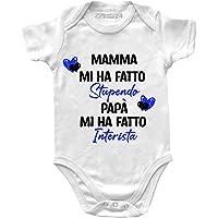 Body Neonato Inter Divertenti Manica Corta – Mamma Mi ha Fatto Stupendo, papà Mi ha Fatto Interista - Body Bambino…