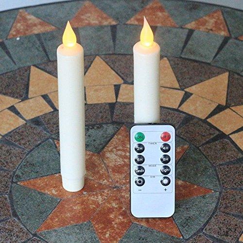 NONNO & ZGF Juego de 2 cera de marfil 7 pulgadas sin llama Velas sinf¨ªn vela con 10 teclas de control remoto, con pilas, blanco c¨¢lido parpadeo
