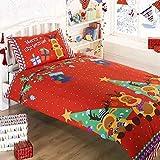 #9: Reindeer Christmas Childrens/Kids Duvet Cover Bedding Set (One Size) (Red)
