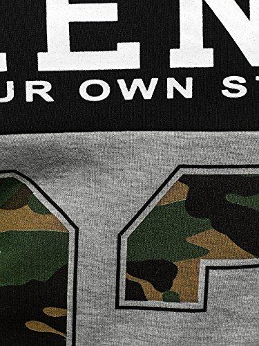 OZONEE Herren T-Shirt mit Motiv Kurzarm Rundhals Figurbetont J.STYLE SS029 Schwarz_J.STYLE-SS117