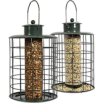Twin Pack Squirrel Proof Hanging Bird Feeder Cage Station for Nuts, Seeds, Peanuts & Fat Balls from Clifford James