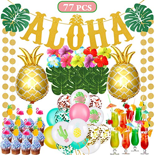 rty Set Ballon Aloha Ananas Deko Flamingo Ballons Banner Tropische Blätter Hawaii Luau Partydekorationen Sommer Tropischen Party Favors Supplies ()