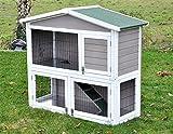 nanook Kleintierstall Hasenstall Idefix XL grau weiß - doppelstöckig - lackiertes Gitter - div. Türen - 113 x 110 cm