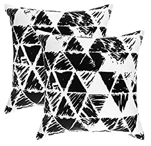 TreeWool, (Pack of 2) Cotton Canvas Ikat Triangle Geometric Accent Decorative Cushion Covers (40 x 40 cm, Black)
