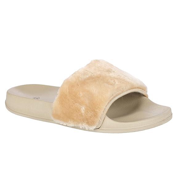 SAPPHIRE BOUTIQUE Womens Sliders Slip On Faux Fur Shoes Farrah Rubber Mules  Hard Slippers: Amazon.co.uk: Shoes & Bags