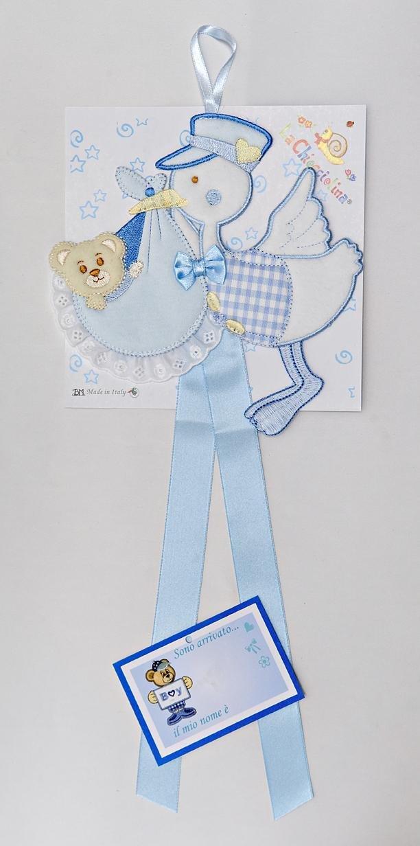 Fiocco nascita /sopraculla cicogna azzurro