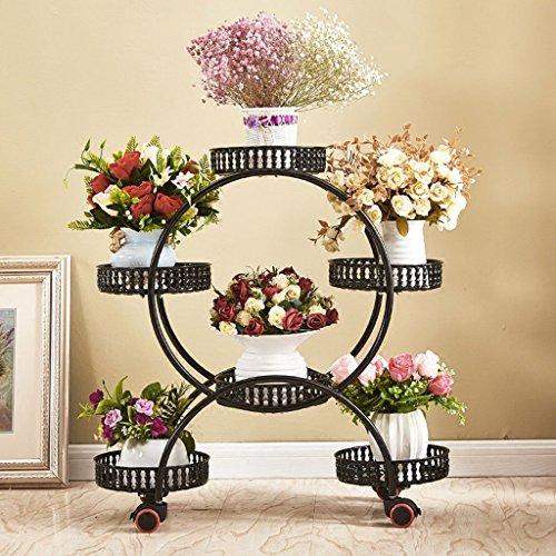 Lsjt piante e fioriere in multistrato telaio in ferro visualizza interni ed esterni decorazione rimovibile 6 vasi neri (colore : black)
