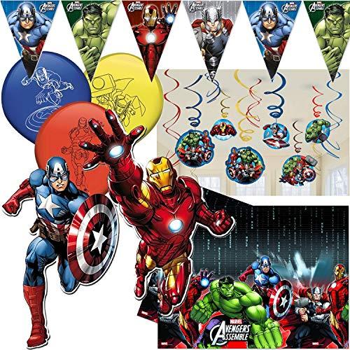 Procos/Carpeta 49 Piezas. Juego de decoración * Avengers Assemble * con banderines + Mantel + Globos, etc. Disfraz Infantil de Iron Man Thor de Marvel Hulk.