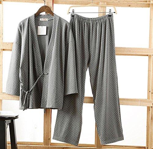 Pigiama di Kimono Inverno Donna e Uomo Impostato Con corda indumenti da notte , grey for woman grey for man
