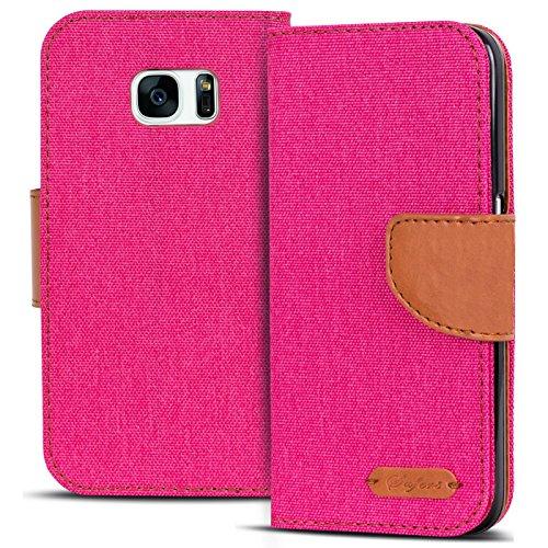Conie Textil Hülle kompatibel mit Samsung Galaxy S7, Booklet Cover Pinke Handytasche Klapphülle Etui mit Kartenfächer