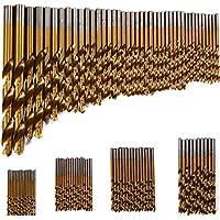 99brocas para plástico, madera y metal, con revestimiento de titanio, 1,5 mm - 10mm HSS