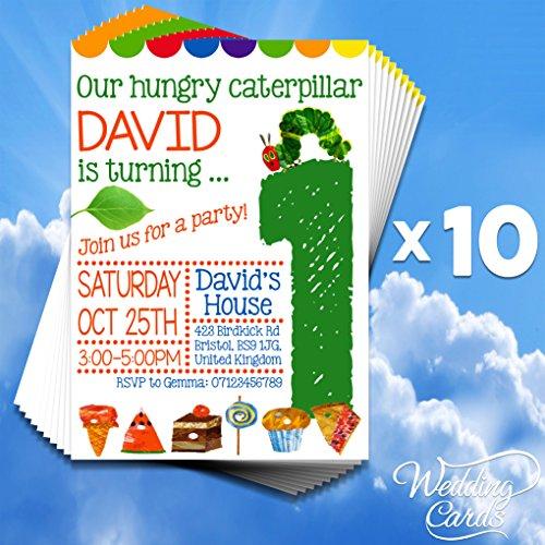 10 x personalisierbar Mädchen Jungen Kids Birthday Party Einladungen Raupe Nimmersatt Kind Kinder Guess Postkarte durch Geschenk Neuheit (Geburtstag Raupe Party Nimmersatt)