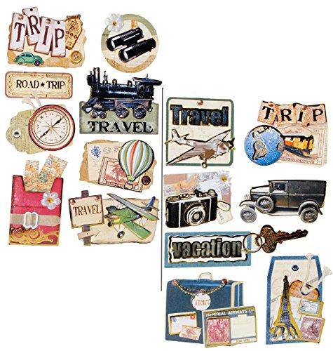 8 tlg. Set: 3-D Aufkleber / Sticker - Reise & Urlaub - selbstklebend - z.B. für Stickeralbum / Figuren - für Kinder & Erwachsene - Stickerset Fotoalbum Urlaubsbilder - Flugreise - Flugzeug-aufkleber-buch