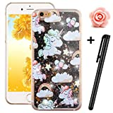 iPhone 6S Glitter Case,Tebeyy Transparent Clear Floating Sparkle Hearts Liquid Bling Case for iPhone 6/6s 4.7Inch,Luxury Cute 3D Creative Moving Love Hearts Stars Hard Protective Shell for Apple iPhone 6/6s-Black Sheep