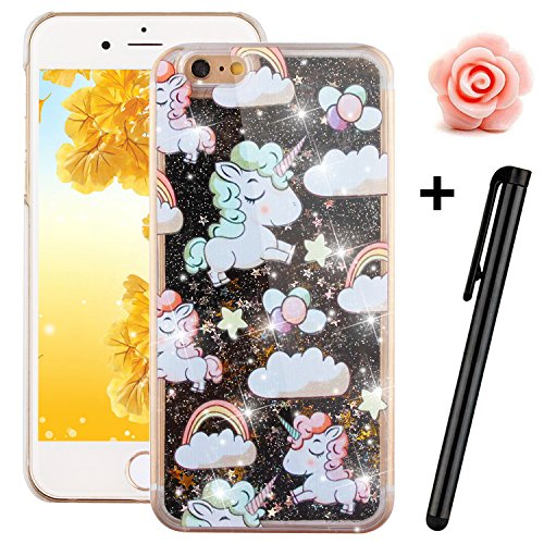 iPhone 6S Plus Glitter Case,Tebeyy Transparent Clear Floating Sparkle Hearts Liquid Bling Case for iPhone 6 Plus,Luxury Cute 3D Creative Moving Love Hearts Stars Hard Protective Shell for Apple iPhone 6 Plus / 6S Plus (5.5 Inch)-Black Sheep Test
