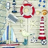 20 Servietten Andenken ans Meer / Maritim / See / Leuchtturm 33x33cm