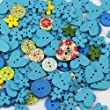 Pack of over 95pcs Main Blue Colors various shapes 2 holes Wood Buttons(15-20MM) package for Sewing Scrapbooking