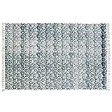 Loberon Teppich Berwynn, Baumwolle, H/B ca. 160/270 cm, grau/Creme, hochwertige Qualität, Vintage-Stil