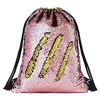 Segorts Sequin Drawstring Backpack Glittering Outdoor Shoulder Bag, Winmany Magic Reversible Glitter Drawstring Backpack , Fashion Bling Shining Bag, Sports Backpack Bag (Gold / Pink)