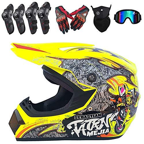 PKFG Full Face Casques Motocross Homme Set, ET-56 Casque de Moto Tout-Terrain Protection avec Gants Masque Lunettes Genouillères Coudières pour Protection de La Sécurité, Jaune,S(52~53CM)