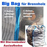 3 x Hochwertiger Holz Big Bag mit Auslaufboden/ Sternenboden speziell für Brennholz * Woodbag, Holzbag, Brennholzsack * 100x100x160cm * Netzgittergewebe * Holz trocknen + transportieren