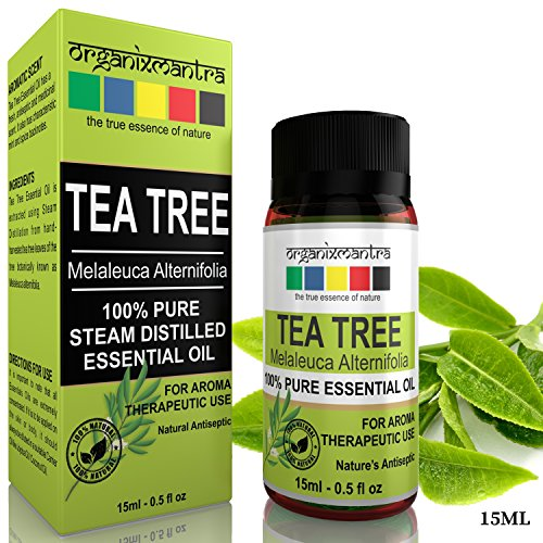 Organix Mantra Tea Tree Essential Oil for Skin, Hair, Face, Acne Care, 15ML, 100% Pure, Natural and Undiluted Therapeutic Grade Essential Oil