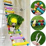 UEETEK Bunte Leiter Vogel Spielzeug, 12-Schritte-Programm flexiblen Leitern aus Holz Regenbogenbrücke Schaukeln für Papageien Haustier Trainning (zufällige Farbe)