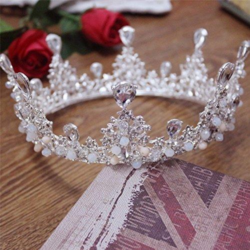Weddwith Kopfschmuck Barock Braut große runde Krone Kristall Handwerk Glas gehobene Braut Krone Braut Kopfschmuck