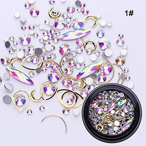 kashyk eine Schachtel Nägel Nagel Kristalle Nagel Kunst Strass Runde Perlen Flache Rückseite Glas Charms Edelsteine,Nägel Dekoration Makeup Kleidung Schuhe