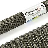 Paracord 550 Seil Tarngrün | 31 Meter Nylon-Seil mit 7 Kern-Stränge | für Armband | Knüpfen von Hunde-Leine oder Hunde-Halsband zum selber machen | Seil mit 4mm Stärke | Mehrzweck-Seil | Survival-Seil | Parachute Cord belastbar bis 250kg (550lbs) - Marke Ganzoo