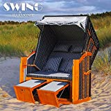 Lujo playa cesta XL–118cm Rügen volllieger Mar Báltico sol Isla ratán ratán tumbona de jardín