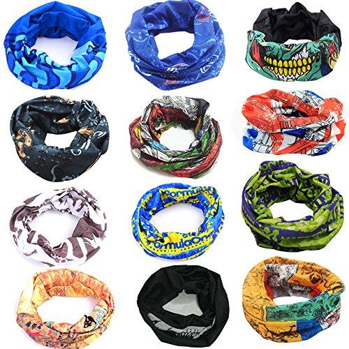 12 pack multiuso fascia bandana scaldacollo foulard - copricapo multifunzione fascia bandana sciarpa di riciclaggio della bici del collo maschera di protezione colorate calcio, ciclismo, climb, hiking