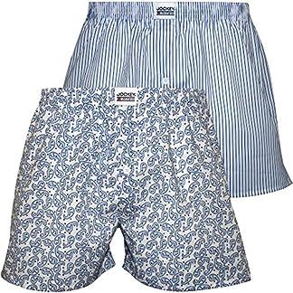 Jockey 2-Pack Rayas Y Pantalones Cortos Bóxer De Hombre Tejido Stralley, Azul/Blanco