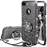 OCYCLONE iPhone 8 Plus Hülle, Glitzer Handy Hülle iPhone 8/7 Plus mit Ring 360 Grad Ständer und Trageband, Diamant Glitzer Case für Frauen Mädchen iPhone 7/8 Plus - Schwarz