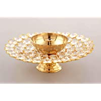 Collectible India Crystal Akhand Diya Oil Puja Lamp Decorative Round for Home Office Gifts Pooja Articles Decor (Medium)