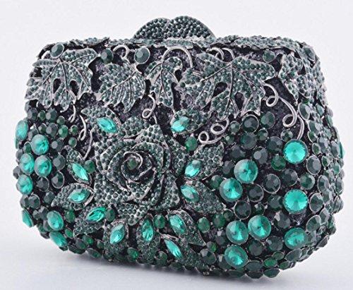 XYXM Frauen Clutch Deluxe Diamond Dinner Pack High-End benutzerdefinierte handgefertigte Kristall Tasche Brieftasche Kleid Pack dark green