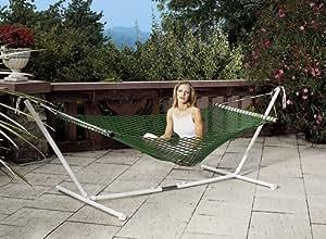 Dream Hängematte mit Standfunktion, leicht, mit angenehm weiches Netz, Polypropylen, 5 mm, grün