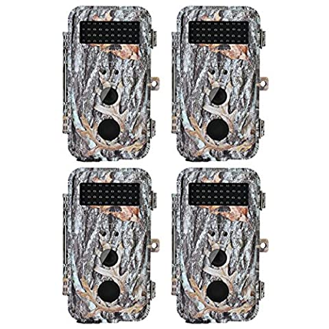 BlazeVideo 4X 16MP HD Digital Game Scouting & Hunter Trail Hunting Wildlife Camera Motion Activated Waterproof with Night Vision 40pcs IR LEDs & PIR Up to 65ft, Video Record, Snapshot, 2.36